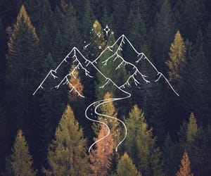 drawing, mountains, and trees image