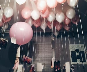 balloons, photos, and pink image