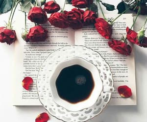 rose, book, and coffee image