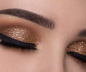 glitter, makeup, and gold image