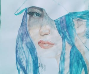 blue hair, drawing, and mysterious image