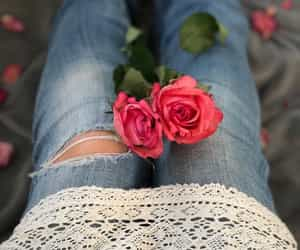 flowers, jeans, and lace image