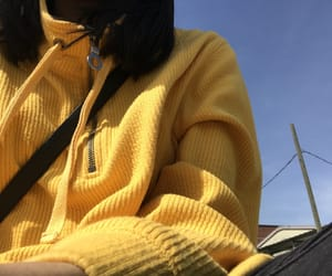 blue skies, girl, and yellow image