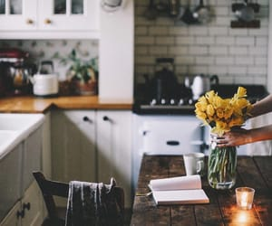 home, flowers, and kitchen image