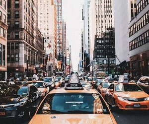 city, new york, and taxi image