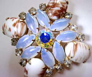 blue, milk glass, and gold plate image
