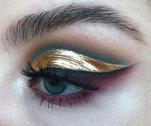 makeup, gold, and eyeshadow image