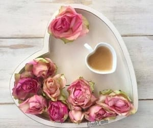 coffee, flowers, and heart image