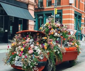 car, flowers, and aesthetic image