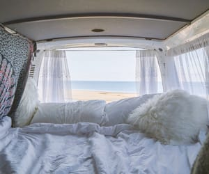 beach, bus, and ocean image