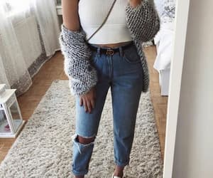 fashion, outfit, and ripped jeans image