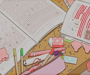 anime, book, and pen image