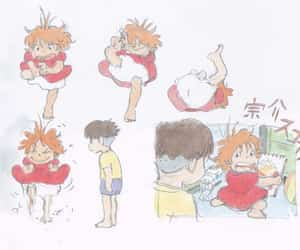 croquis, Ponyo, and anime image