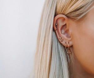 earrings, gold, and Piercings image