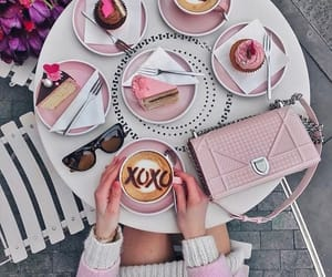 pink, coffee, and girl image