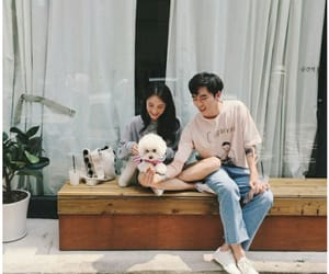 ulzzang, couple, and dog image