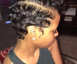 hair, black beauty, and short hair image
