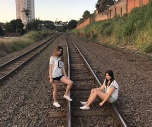 girls, friends, and train image