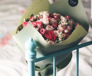 bed, flowers, and girls image