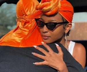 couple, orange, and durag image