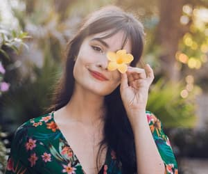 beautiful, brazilian girl, and flowers image