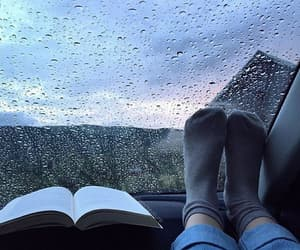 rain, book, and autumn image