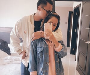 couple, mirror selfie, and home image