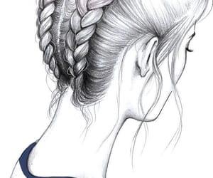 drawing, art, and braid image