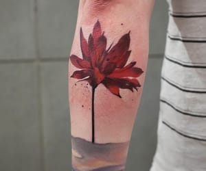 tattoo, red, and watercolor image