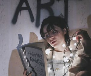 art, lights, and girl image