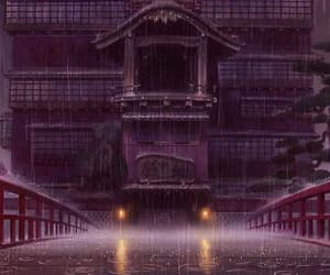 anime, spirited away, and rain image
