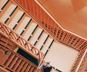 peach, stairway, and staircase image