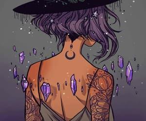 art, moon, and purple image