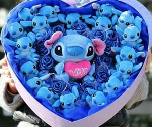 blue, stitch, and love image