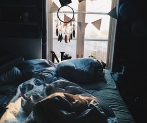 bed, room, and dreamcatcher image