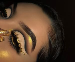 crease, gold, and lashes image