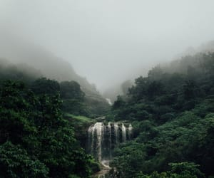 nature, waterfall, and fog image