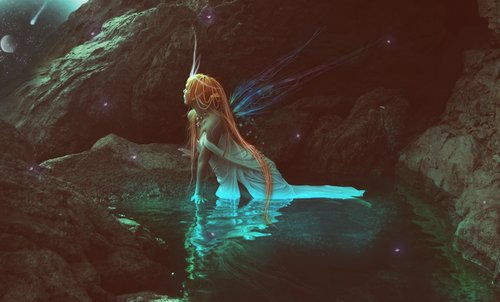 fairy, fairy wings, and water image