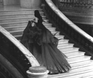 dress, black and white, and stairs image