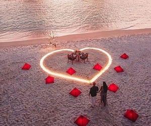 love, heart, and beach image