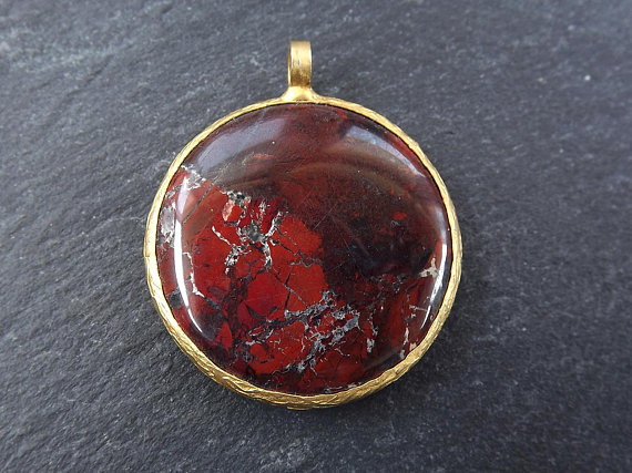 etsy, gemstone pendant, and gold bezel image
