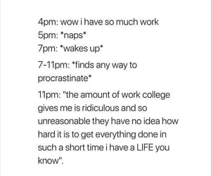 college, funny, and homework image