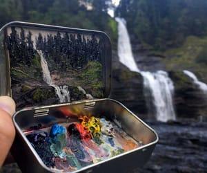 art, nature, and waterfall image