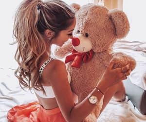 teddy bear, fashion, and girls image