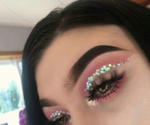 girl, makeup, and glitter image
