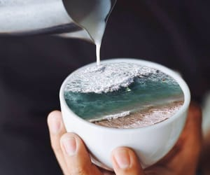 ocean, coffee, and art image