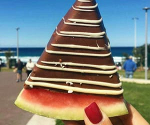 watermelon, chocolate, and food image