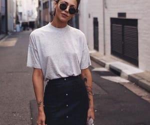 bag, fashion, and grey shirt image