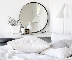 white, bedroom, and mirror image