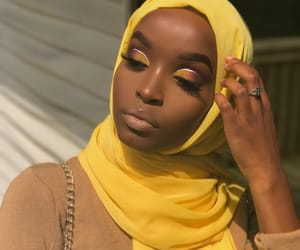 beauty, hijab, and yellow vibes image
